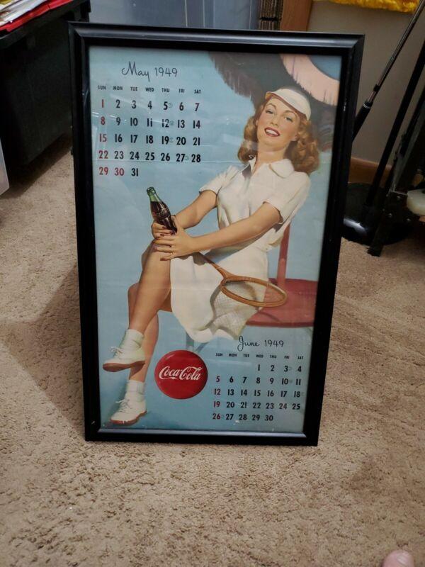 Vintage Professionally Framed Coca-cola Pinup Tennis Girl Calendar Page 5/6 1949