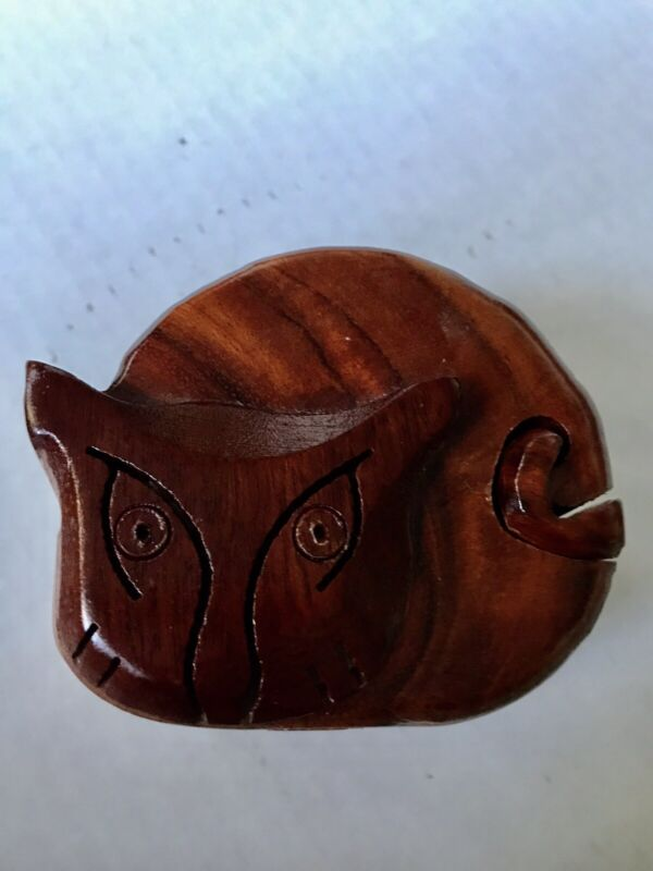 Vintage Carved Cat Wood Art Puzzle Hidden Compartment Trinket Jewelry Box