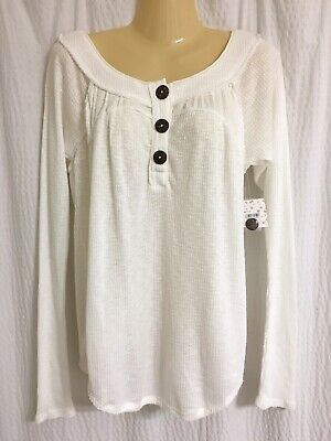 NWT Free People Sz S ivory long sleeve waffle knit henley top