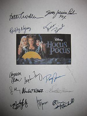 Hocus Pocus Signed Film Script x14 Bette Midler Sarah Jessica Parker Najimy rpnt