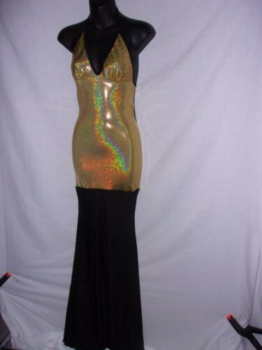 NWT Sexy exotic pole dancer stage wear exotic dress / gown Black and Gold Small