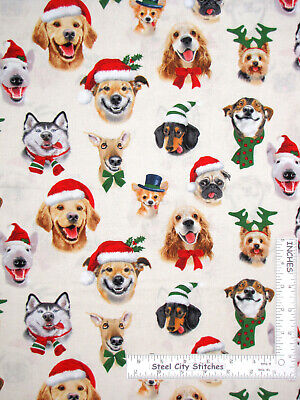 Christmas Puppy Dog Selfies Cream Cotton Fabric Elizabeths Studio By The Yard ()