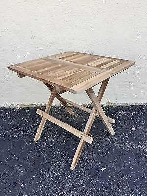 Solid Teak Wood Patio Garden Folding Side Table Picnic Outdoor Furniture