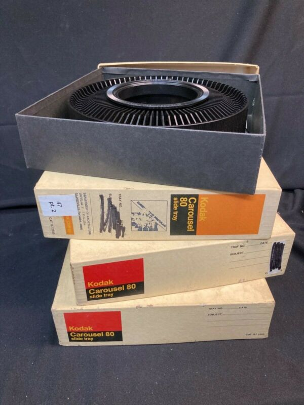 LOT of 4 - Vintage Kodak Carousel 80 Slide Projector Trays - With Original Boxes
