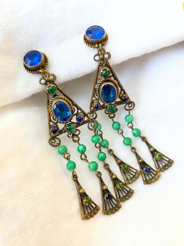 Vintage Antique Art Deco Neiger Czech Crystal Paste Glass Drop Faceted Earrings
