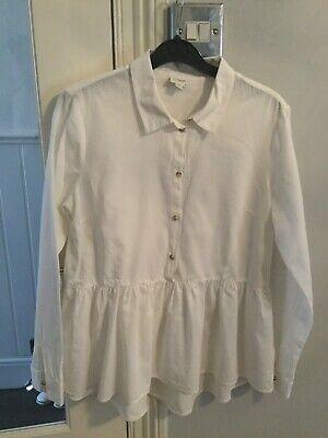 Asos White Peplum Blouse Shirt (Jacqueline De Yong )Size 38 : 10-12