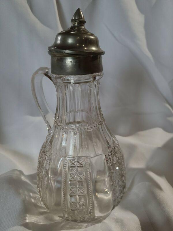 ANTIQUE GLASS SYRUP PITCHER DISPENSER BEAUTIFUL PATTERN
