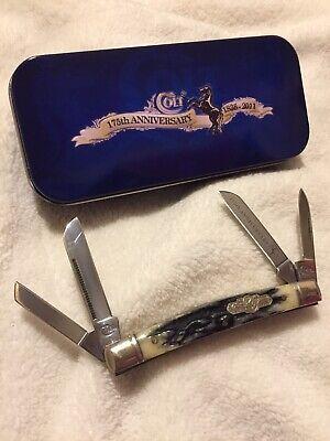 Colt Pocket Knife Congress 175th Anniversary Stag Bone Handle RARE CT240A