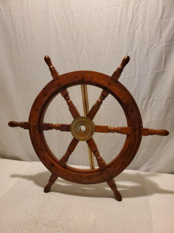 "Vintage Decorative 25"" Ship Wheel Pirate Wooden & Heavy Brass Hub Wall Decor"