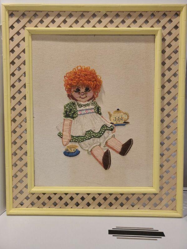 Vintage Crewel Red Head Little Girl/Doll Needlepoint Art Framed Raggedy Anne?