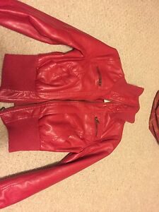 Faux red leather bomber jacket