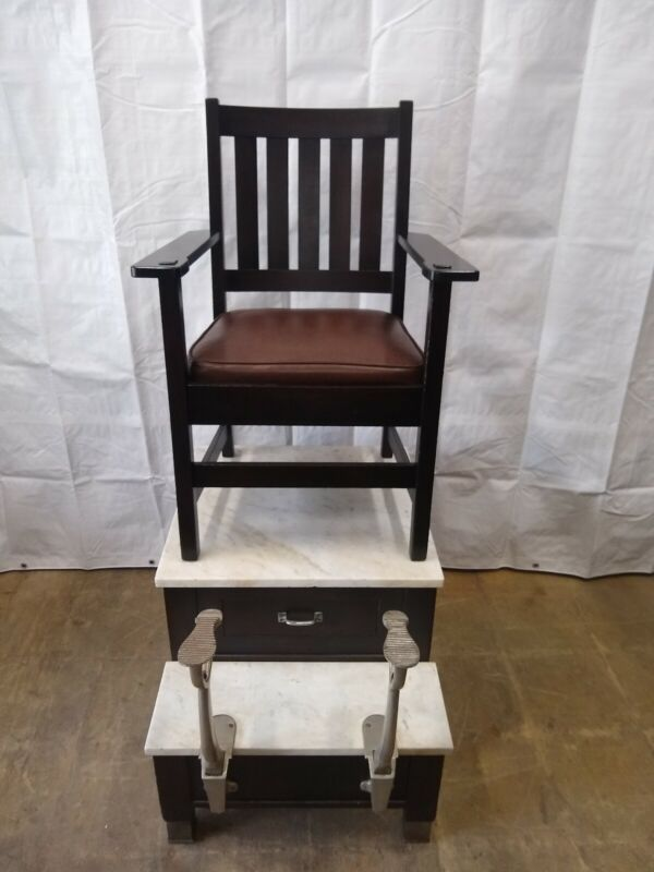 Antique shoe Shine Station Shoe Shine Chair Stand old finish marble rare piece