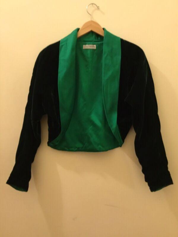 Guy Larouche Vintage Green Velvet Satin Blazer/Jacket 1980's