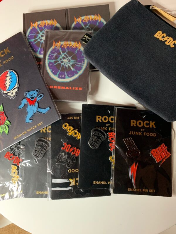 Rock By Junkfood Lot Of Pins Patches Notebooks Party  AC/DC Def Leppard Bowie