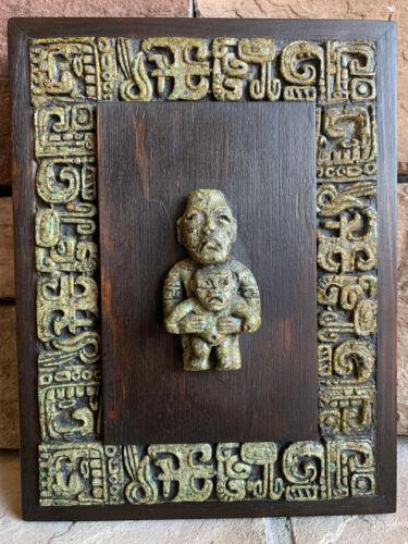 Original Zarebski Pre-Columbian Mexican Wall Art of Molded Greenstone Resin/Wood