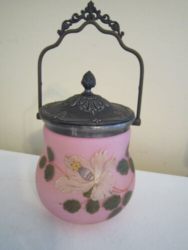 Antique Victorian Art Nouveau Pink Satin Glass Biscuit Cookie Jar~Silver Plate