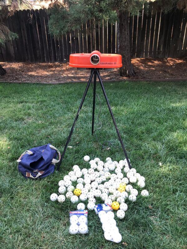 Granada Baseball Poly Wiffle Ball BackYard Pitching Hit Machine With 100 Balls
