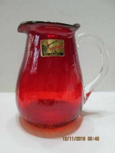 Pilgrim Red Textured Vase Pitcher clear Handle Original  Foil Sticker