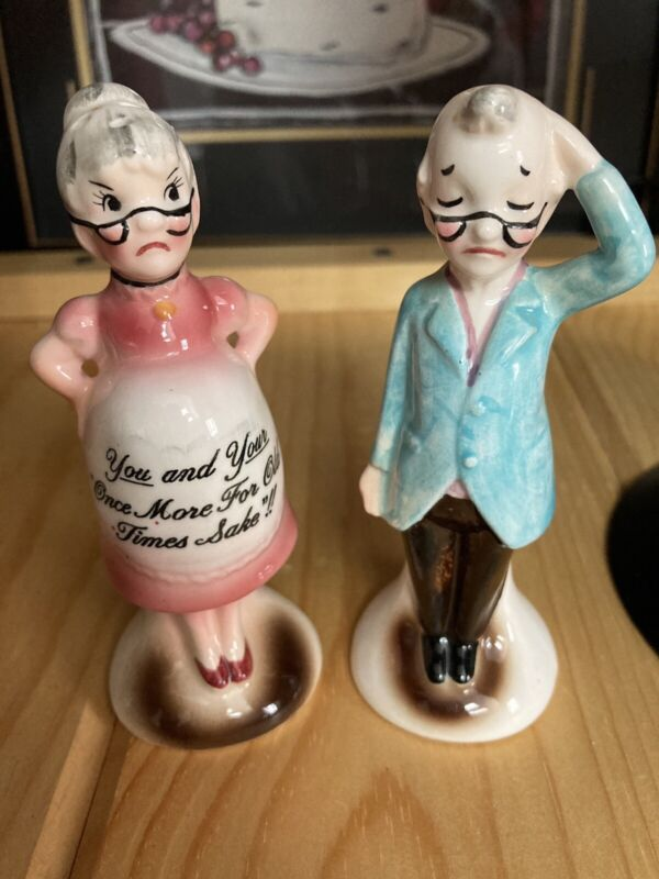 "Vintage Anthropomorphic Salt & Pepper Shakers - ""You and Your Once More for Old"