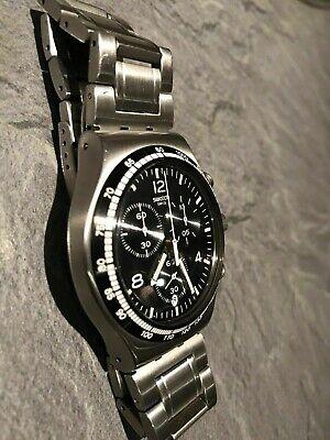 Swatch Irony Night  Flight Steel Silver Chronogragh Date Watch YVS444G