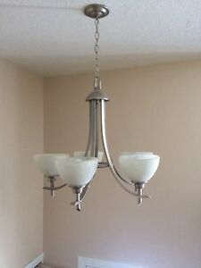 Nice brushed nickle chandelier.