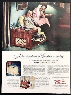 1948 Vintage Print Ad 40S Zenith Radio Mid Century Image Home Electronics