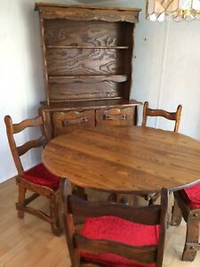 Rustic Solid Wood Round Table, 4 Chairs and 2 Piece Hutch
