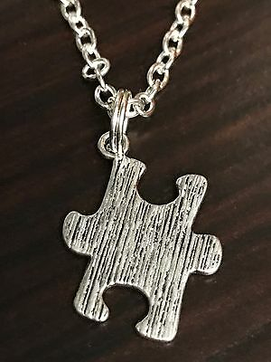 Jigsaw Autism Puzzle Piece Solid Charm Tibetan Silver with 18