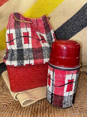 Vintage Aladdin ECONOMY Red Plaid 1/2 Pint Vacuum Bottle Thermos w/ Cork & Bag