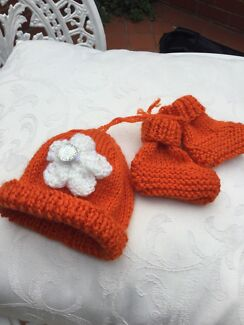 2 bright beanies and booties for a premie baby