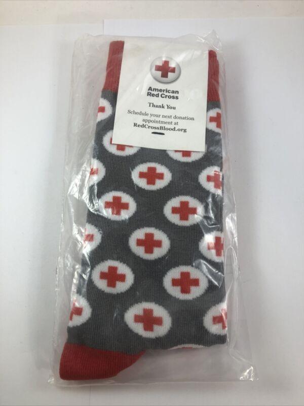 Thank You American Red Cross Socks Gray, Red & White Fits Men 6-12 & Women 7-13