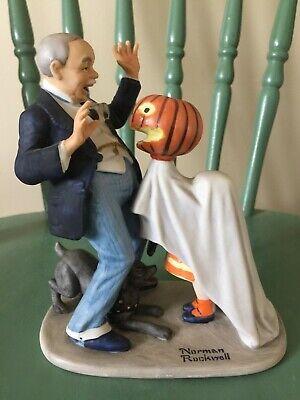 Norman Rockwell figurine Danbury Mint 12 porcelain Trick Treat halloween pumpkin - Norman Rockwell Halloween