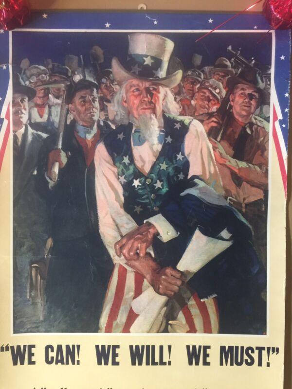 Rare Original WW2 WWII Uncle Sam Poster JW Schlaikjer Art JB Simpson Uniforms