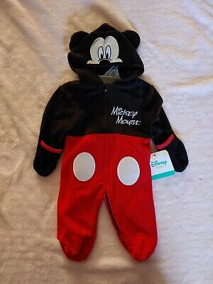 Baby Costume 0-3 Months (0-3 months Disney Baby Infant Costume Mickey Mouse hoodie bodysuit pajama)