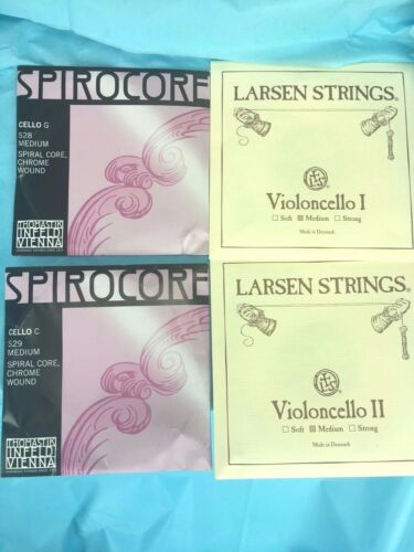 Cello Strings set Larsen Cello A, D String with Spirocore Cello Chrome G , C