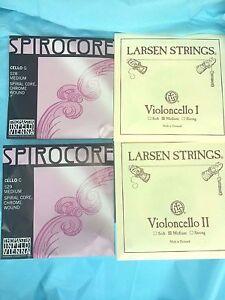 Cello Strings set Larsen Cello A, D String with Spirocore Cello Chrome G , C
