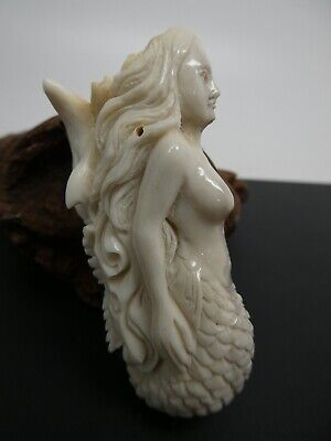 Hand Carved Realistic Mermaid Dolphin Shed Deer Antler Siren SP Chain Pendant