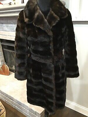 Tissavel French Faux Mink Fur Womens Coat Dark Brown/Black