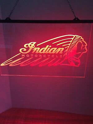"Indian Motorcycles 8""x12"" Led Light Sign Man Cave Garage"