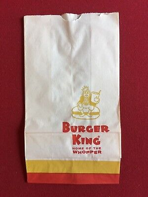 """1960's, Burger King (Old Logo) """"Un-Used"""" Paper Bag (Scarce)"""