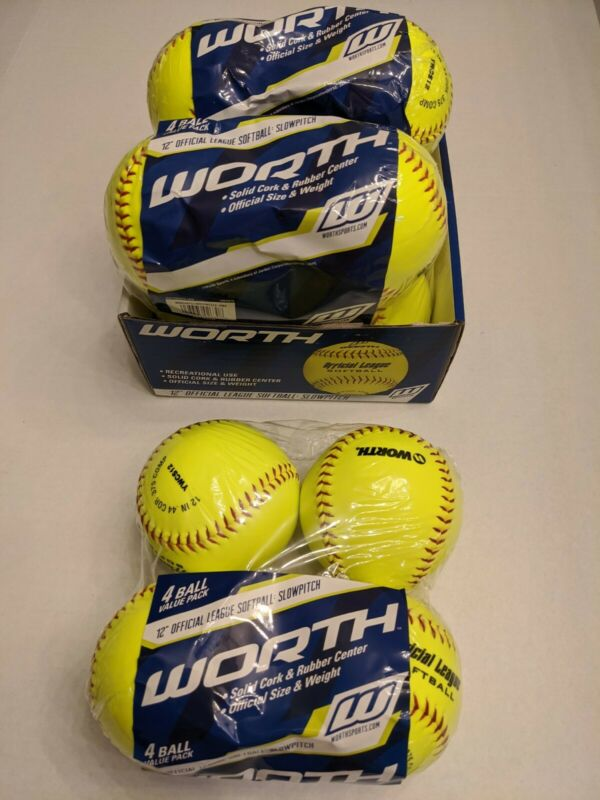 12 SOFTBALLS Worth 3 X 4 Pk 12 Inch SlowPitch Official League Yellow