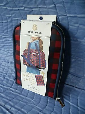 Pure Honey Convertible STOW-N-GO Bag Tote/Beach Pack/Plaid Red / Blue