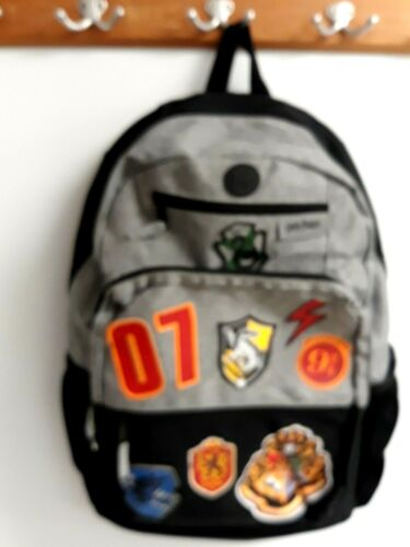 Harry Potter Licensed  Patches Backpack School Book Bag Black and Grey