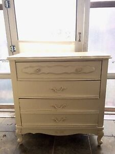 French provincial dresser, vanity and 2 end tables