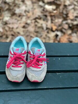 New Balance 574 Girls Shoes Size 8 Toddler Pink/ Sky Blue/ Grey