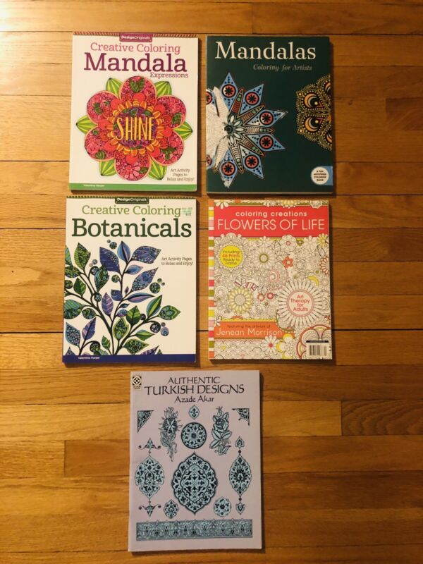 LOT OF 5 ~ Mandala Pattern Creative Design Stress Relieving Adult Coloring Books