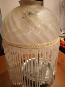 Frosted Glass lamp shade with glass dangling