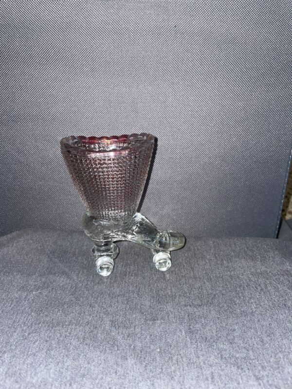 Vintage Boot Roller Skate Red Flashed Ruby Victorian Match / Toothpick Holder