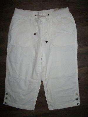 LIVING PLANET Womens 6 White Capris Pants w Drawstring NWT