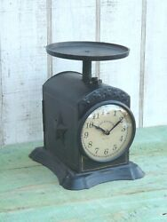 Postage scale clock primitive vintage style embossed star country home decor